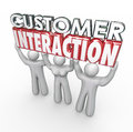 Customer interaction d words clients engagement involvement in letters lifted by to illustrate participation and communication Stock Image