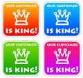 Customer is king icons in bright colors Stock Photos