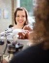Customer looking at waitress in cafeteria beautiful Royalty Free Stock Images