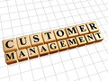 Customer management text in d golden cubes with black letters business crm concept Stock Images