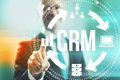 Customer relationship management concept man selecting crm Stock Photography