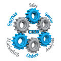Customer relationship managementwork with blue and grey gears on the white background Stock Photo