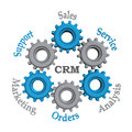 Customer relationship managementwork with blue and grey gears on the white background Stock Photography