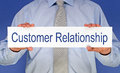 Customer relationship sign body of businessman in shirt holding Stock Images
