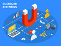 Customer retention or loyalty isometric vector concept illustration. Client care or satisfaction metaphor. Magnet attract Royalty Free Stock Photo