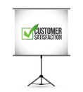 Customer satisfaction checkmark presentation illustration design over white Royalty Free Stock Image
