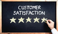 Customer Satisfaction Concept, Man Filling In Rating Stars On Bl Royalty Free Stock Photo