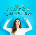 Customer Satisfaction with young woman looking upwards Royalty Free Stock Photo