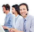 Customer service agents working in a call center Royalty Free Stock Photos