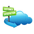 Customer service cloud road sign illustration design over white Stock Photography