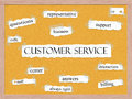 Customer service corkboard word concept with great terms such as rep support calls and more Stock Images