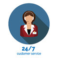 Customer service flat icon design vector illustration with support assistant Royalty Free Stock Photo
