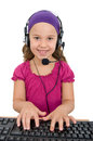 Customer service girl as a representative with headset Stock Photo