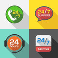 Customer service hours support icon flat set Royalty Free Stock Images