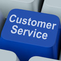 Customer service key shows online consumer support showing Royalty Free Stock Image