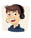 Customer service man vector illustration of a male with headphones Royalty Free Stock Image