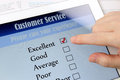 Customer service online survey satisfaction on a digital tablet Royalty Free Stock Photos