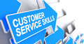 Customer Service Skills - Text on the Blue Cursor. 3D.