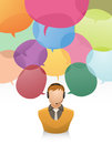 Customer service with speech bubble vector illustration of bubbles as many complains Stock Images