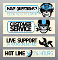 Customer service support banners with skull Royalty Free Stock Image