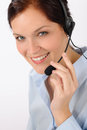 Customer service woman call center phone headset Stock Photo