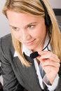 Customer service woman call operator phone headset Stock Image