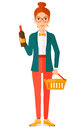Customer with shopping basket and bottle of wine a woman holding a vector flat design illustration on white background Royalty Free Stock Images