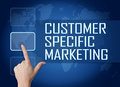 Customer specific marketing concept with interface and world map on blue background Stock Image