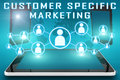 Customer specific marketing text illustration with social icons and tablet computer and mobile cellphones on cyan digital world Stock Image