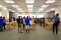 Customers at apple store hong kong activities of location elements shopping mall Stock Image