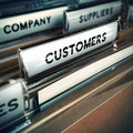 Customers base or file concept folder tab with focus on the the word customer business clients image with blur effect Stock Photo