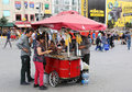Customers buying boiled corn at Taksim Square Royalty Free Stock Photo