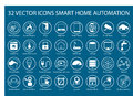 Customizable icons for infographics regarding smart home automation like thermostats sensors watch gadgets Stock Photo