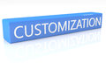 Customization d render blue box with text on it on white background with reflection Stock Photography