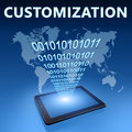 Customization illustration with tablet computer on blue background Royalty Free Stock Photo