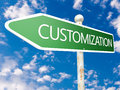 Customization street sign illustration in front of blue sky with clouds Royalty Free Stock Photo