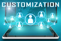 Customization text illustration with social icons and tablet computer and mobile cellphones on cyan digital world map background Royalty Free Stock Image