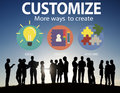 Customize ideas identity individuality innovation personalize co concept Stock Image