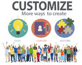 Customize ideas identity individuality innovation personalize co concept Royalty Free Stock Images