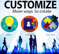 Customize ideas identity individuality innovation personalize co concept Stock Photos