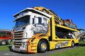 Customized scania r v car carrier in a show alaharma finland august with airbrush artwork power truck Royalty Free Stock Photo