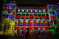 Customs house sydney during vivid sydney australia june hosue comes alive in bright colours and moving imagery for play me annual Royalty Free Stock Image