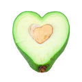 Cut avocado shaped like heart Royalty Free Stock Photos