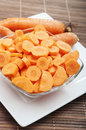 Cut carrot in bowl Royalty Free Stock Photography