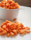 Cut carrot on white background close up Stock Image