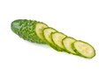 The cut cucumber on the white isolated background Stock Photography