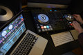 Cut in of DJ Decks and Laptop Computer Royalty Free Stock Photo