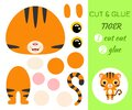 Cut and glue baby tiger. Educational paper game for preschool children Royalty Free Stock Photo