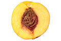 Cut half nectarine peach isolated on white background Royalty Free Stock Photo