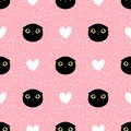 Cut head black cat with heart and dot seamless pattern